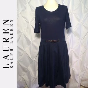 Lauren Ralph Lauren Short Sleeve Box Pleat Dress